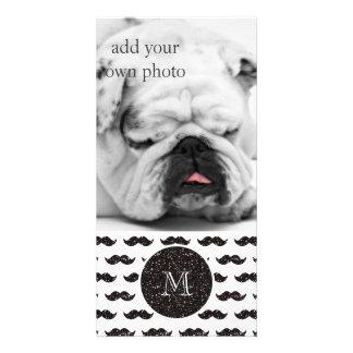 Black Glitter Mustache Pattern Your Monogram Picture Card