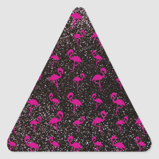 Black glitter pink flamingo sticker