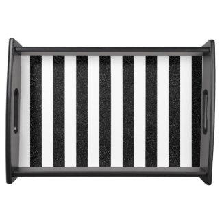 Black glitter stripes tray
