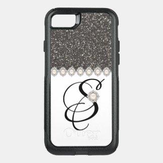 BLACK GLITTER WHITE MONOGRAMME OtterBox COMMUTER iPhone 8/7 CASE