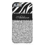 Black Glitter Zebra Rhinestone Girly Case iPhone 6 Case
