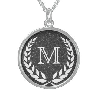 Black Glitz Wreath Frame Monogram Sterling Silver Necklace