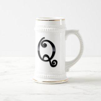 Black Gloss Monogram - Q 18 Oz Beer Stein