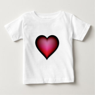 BLACK GLOWING RED HEART SHAPE LOVE GRAPHICS BABY T-Shirt