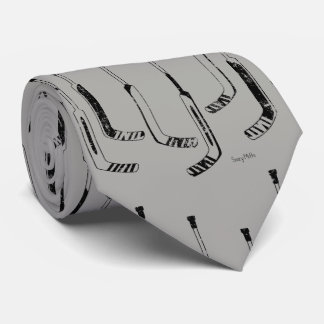 Black Goalie Sticks Hockey Tie