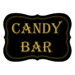 "Black & Gold 1920's Gatsby Wedding Candy Bar Sign 5"" X 7"" Invitation Card"