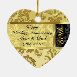 Black & Gold 50th Wedding Anniversary Ornament Christmas Tree Ornaments