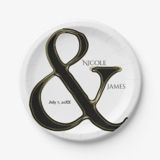 Black & Gold Ampersand Chic Wedding Reception Paper Plate