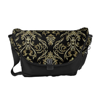 Black Gold And Diamonds Pattern Floral Damasks Commuter Bags