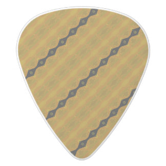 Black Gold and Olive Modern Abstract Stripe White Delrin Guitar Pick