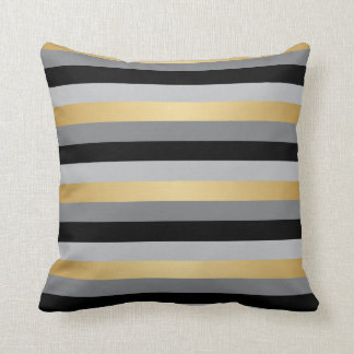 Black, Gold and Silver Stripes Throw Pillow