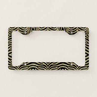 Black gold and silver zebra pattern license plate frame