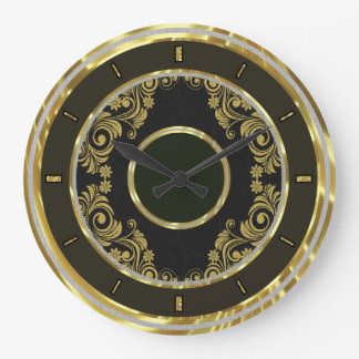 Black Gold  And Swirls-Elegant Wall Clock