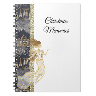 Black Gold Angel and Buildings Notebook