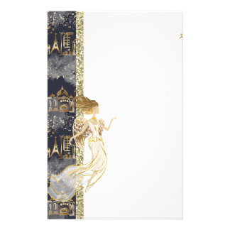 Black Gold Angel and Buildings Stationery