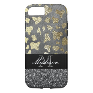 Black Gold Animal Print Monogram Cell Phone Case