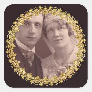 Black & Gold Anniversary Wedding Photo Stickers