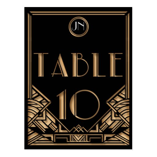 Black Gold Art Deco Gatsby Style Table Number 10 Postcard