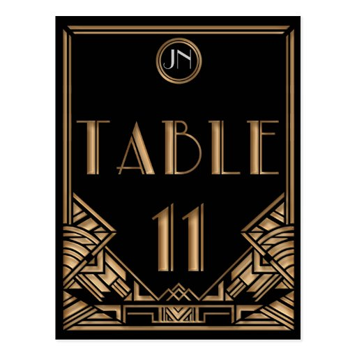 Black Gold Art Deco Gatsby Style Table Number 11 Post Cards