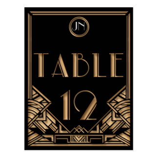 Black Gold Art Deco Gatsby Style Table Number 12 Postcard