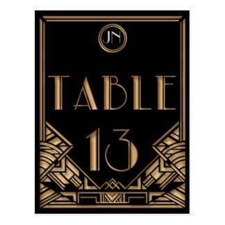Black Gold Art Deco Gatsby Style Table Number 13 Postcard