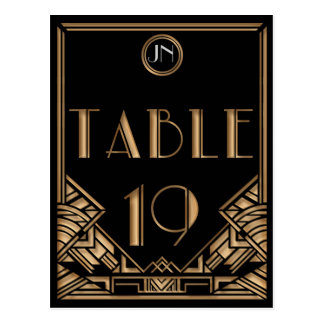 Black Gold Art Deco Gatsby Style Table Number 19 Postcard