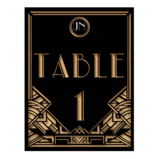 Black Gold Art Deco Gatsby Style Table Number 1 Postcard