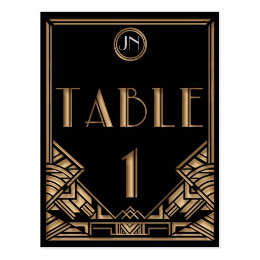 Black Gold Art Deco Gatsby Style Table Number 1 Post Cards