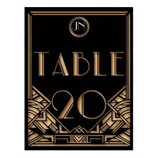 Black Gold Art Deco Gatsby Style Table Number 20 Postcard