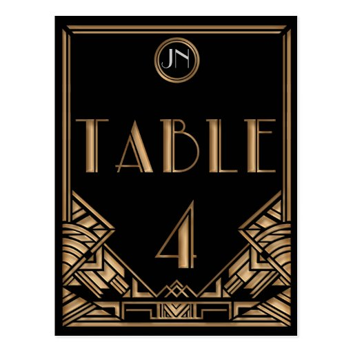 Black Gold Art Deco Gatsby Style Table Number 4 Postcards