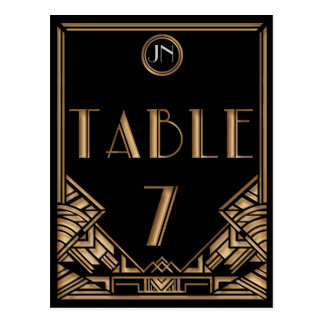 Black Gold Art Deco Gatsby Style Table Number 7 Postcard