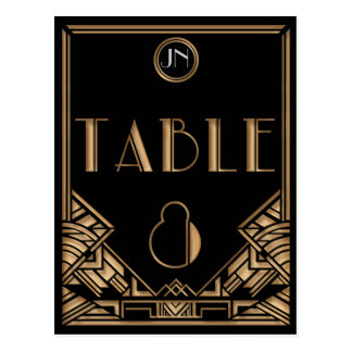 Black Gold Art Deco Gatsby Style Table Number 8 Postcard