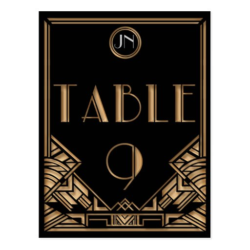 Black Gold Art Deco Gatsby Style Table Number 9 Postcards
