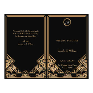 Black Gold Art Deco Gatsby Style Wedding Program