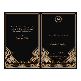 Black Gold Art Deco Gatsby Style Wedding Program Full Color Flyer