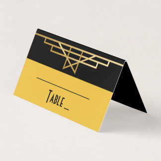 Black & Gold Art Deco Great Gatsby Wedding Party Place Card