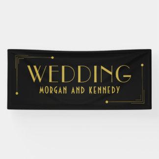 Black Gold Art Deco Style 1920s Wedding Banner