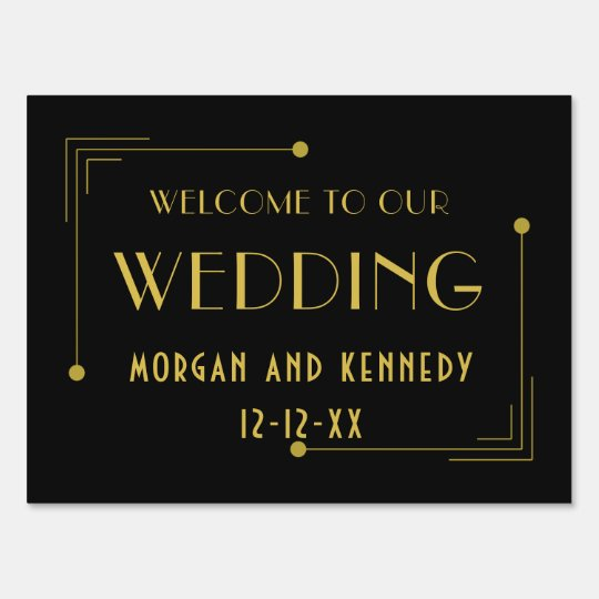 Black Gold Art Deco Welcome 1920 Wedding Lawn Sign
