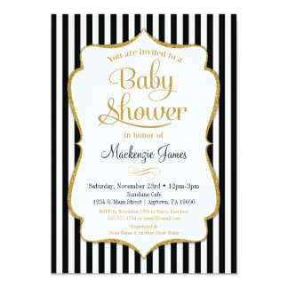Black Gold Baby Shower Invitation Gender Neutral