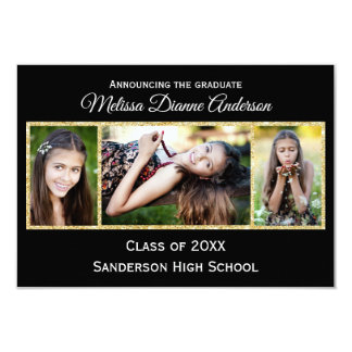 Black/Gold Background - 3x5 Graduation Party Card
