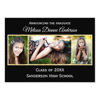Black/Gold Background - Graduation Party Card