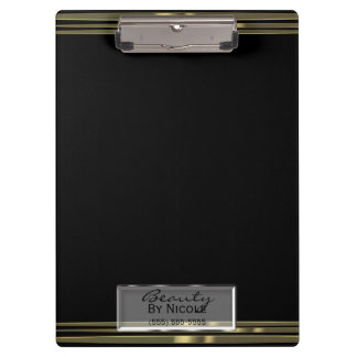 Black Gold Band Elegant Chic Glam Personalized Clipboard