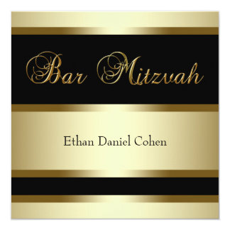 Black Gold Bar Mitzvah Invitations