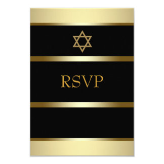 Black Gold Bar Mitzvah RSVP Card