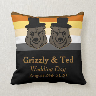Black & Gold Bear Flag Pillow Gay Wedding Gift