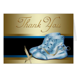 Black Gold Blue Baby Booties Thank You Cards