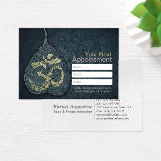 Black & Gold Bodhi Leaf OM Symbol YOGA Appointment Business Card