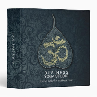 Black & Gold Bodhi Leaf OM Symbol YOGA Instructor Binder