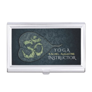 Black Gold Bodhi Leaf OM Symbol YOGA Instructor Business Card Holder