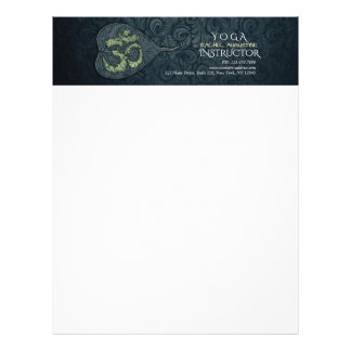 Black & Gold Bodhi Leaf OM Symbol YOGA Instructor Letterhead